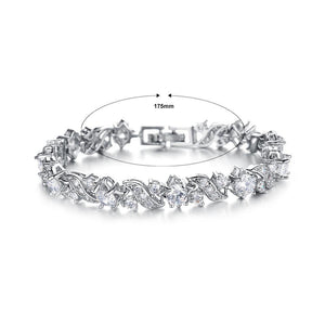 Elegant Bright Flower Bracelet with Cubic Zirconia - Glamorousky