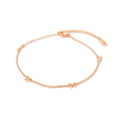 Simple and Elegant Plated Rose Gold Ribbon Titanium Steel Anklet - Glamorousky