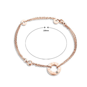 Fashion Simple Plated Rose Gold LOVE Geometric Round Cubic Zirconia Titanium Steel Anklet - Glamorousky