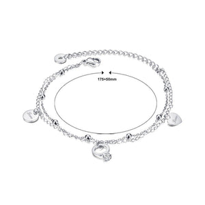 Simple and Romantic Round Heart-shaped Titanium Steel Anklet with Cubic Zircon - Glamorousky