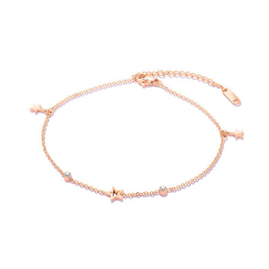 Simple and Fashion Plated Rose Gold Star Cubic Zirconia Titanium Steel Anklet - Glamorousky