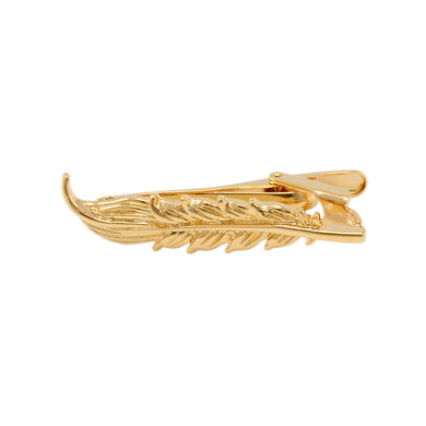 Fashion Simple Plated Gold Feather Tie Clip