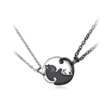 Simple Fashion Silver and Black Stitching Cat Couple Titanium Steel Pendant with Necklace