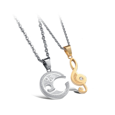 Fashion Romantic Silver and Gold Music Notes Couple Titanium Steel Pendant with Cubic Zirconia and Necklace