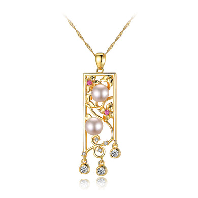 925 Sterling Silver Plated Gold Elegant Hollow Carved Pendant with White Freshwater Pearls and Necklace