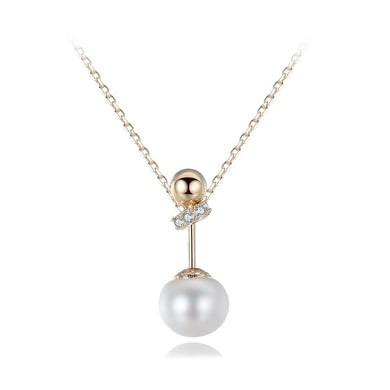 925 Sterling Silver Plated Gold Simple Fashion Geometric Round White Freshwater Pearl Pendant with Cubic Zircon and Necklace