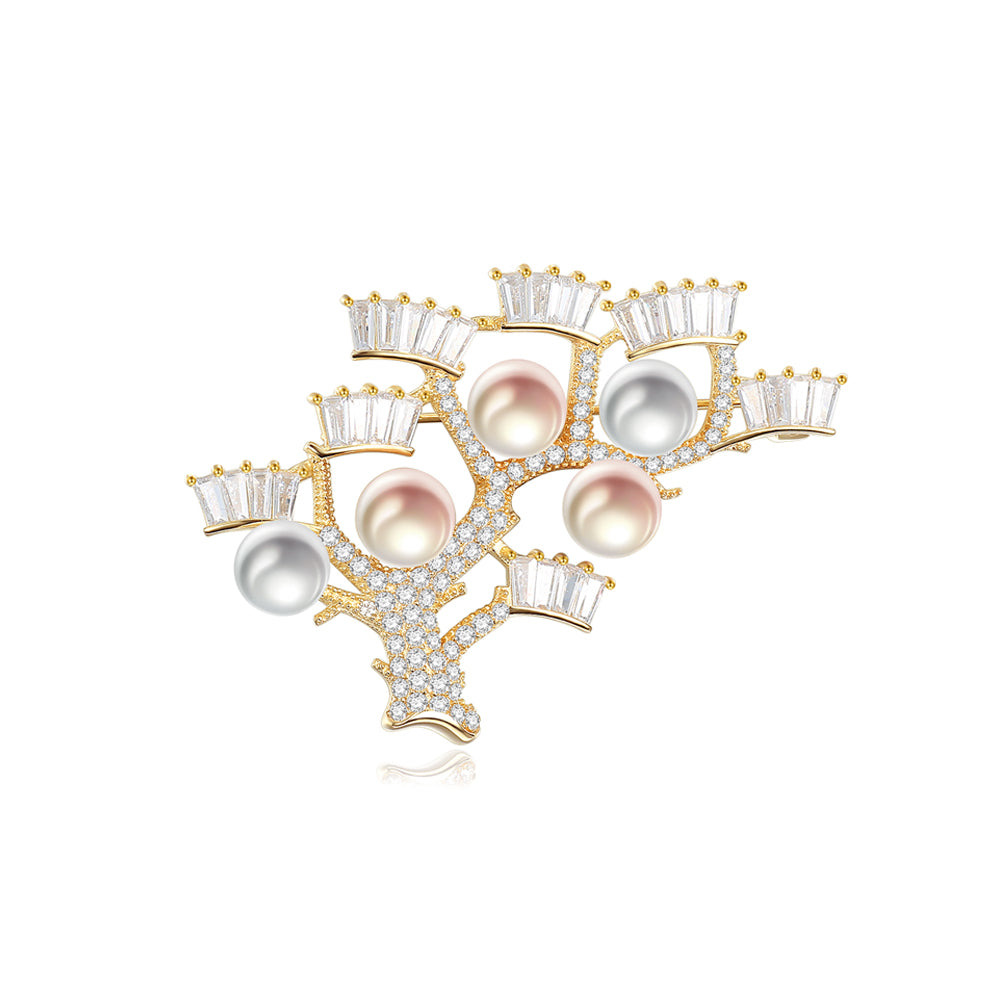 925 Sterling Silver Plated Gold Fashion Elegant Tree Branch Freshwater Pearl Brooch with Cubic Zirconia