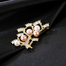 Load image into Gallery viewer, 925 Sterling Silver Plated Gold Fashion Elegant Tree Branch Freshwater Pearl Brooch with Cubic Zirconia