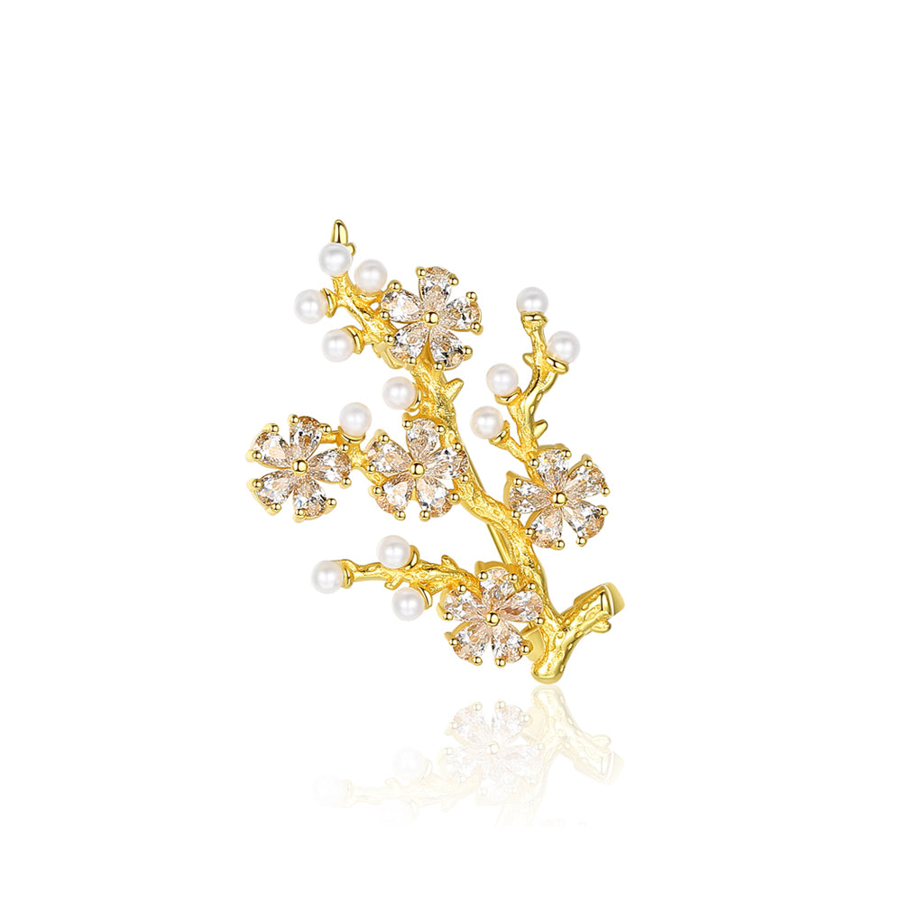 925 Sterling Silver Plated Gold Fashion Elegant Small Tree White Freshwater Pearl Brooch with Cubic Zirconia