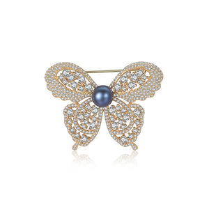 925 Sterling Silver Plated Gold Bright and Elegant Butterfly Black Freshwater Pearl Brooch with Cubic Zirconia