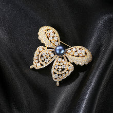Load image into Gallery viewer, 925 Sterling Silver Plated Gold Bright and Elegant Butterfly Black Freshwater Pearl Brooch with Cubic Zirconia