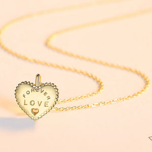 925 Sterling Silver Plated Gold Simple Romantic Heart Pendant with Necklace