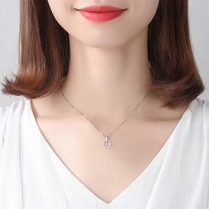 925 Sterling Silver Fashion Simple Geometric Circle Pendant with Cubic Zirconia and Necklace