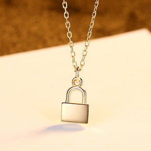925 Sterling Silver Plated Gold Fashion Creative Lock Pendant with Necklace