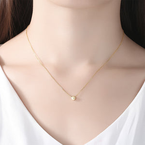 925 Sterling Silver Plated Gold Simple Classic Geometric Round Pendant with Cubic Zirconia and Necklace