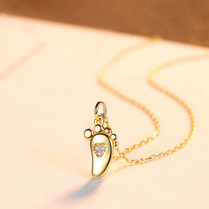 925 Sterling Silver Plated Gold Simple Creative Feet Pendant with Cubic Zirconia and Necklace