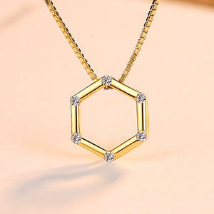 925 Sterling Silver Plated Gold Simple Hollow Geometric Hexagon Pendant with Cubic Zirconia and Necklace