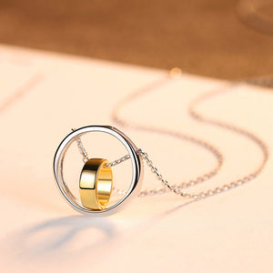 925 Sterling Silver Simple Fashion Geometric Double Round Pendant with Necklace