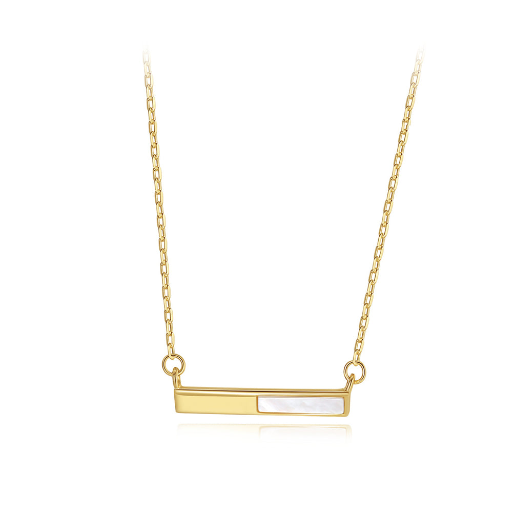 925 Sterling Silver Plated Gold Simple and Delicate Geometric Rectangular Mother-of-pearl Necklace