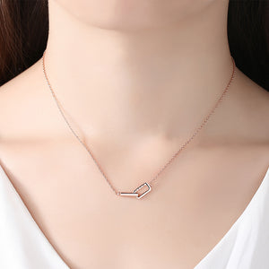 925 Sterling Silver Plated Rose Gold Simple Fashion Double Rectangular Necklace