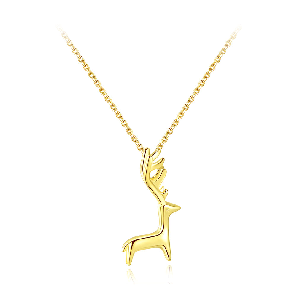 925 Sterling Silver Plated Gold Simple Cute Elk Pendant with Necklace