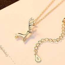 Load image into Gallery viewer, 925 Sterling Silver Plated Gold Simple Cute Elk Pendant with Necklace