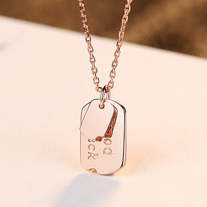 925 Sterling Silver Plated Rose Gold Simple Fashion Geometric Square Pendant with Necklace