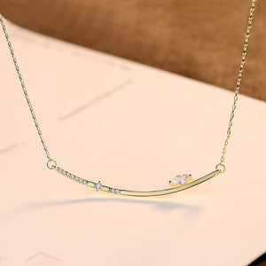 925 Sterling Silver Plated Gold Simple Geometric Bar Necklace with Cubic Zirconia