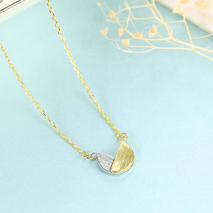 925 Sterling Silver Plated Gold Simple Fashion Two-color Semicircle Pendant with Necklace