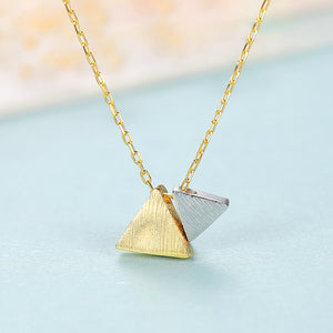 925 Sterling Silver Plated Gold Simple Atmospheric Two-color Triangle Pendant with Necklace