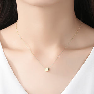 925 Sterling Silver Plated Gold Simple Fashion Geometric Heart-shaped Square Pendant with Necklace
