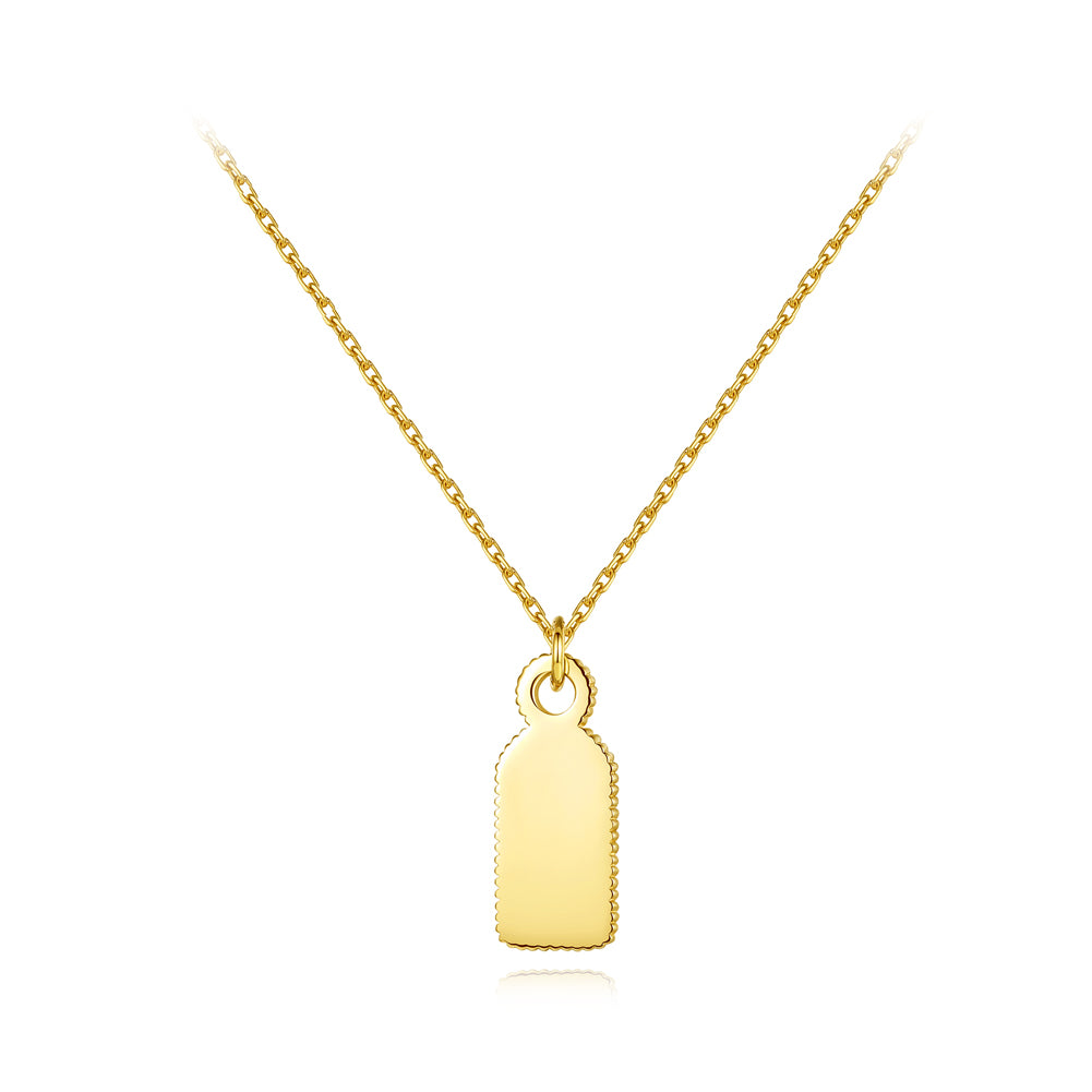925 Sterling Silver Plated Gold Simple Creative Wine Bottle Pendant with Necklace