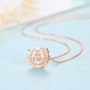 925 Sterling Silver Plated Rose Gold Simple Creative Geometric Round Pendant with Necklace