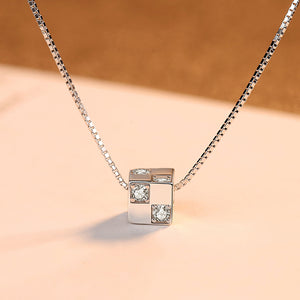 925 Sterling Silver Simple and Delicate Geometric Square Pendant with Cubic Zirconia and Necklace