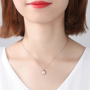 925 Sterling Silver Plated Rose Gold Simple Classic Geometric Round Pendant with Necklace