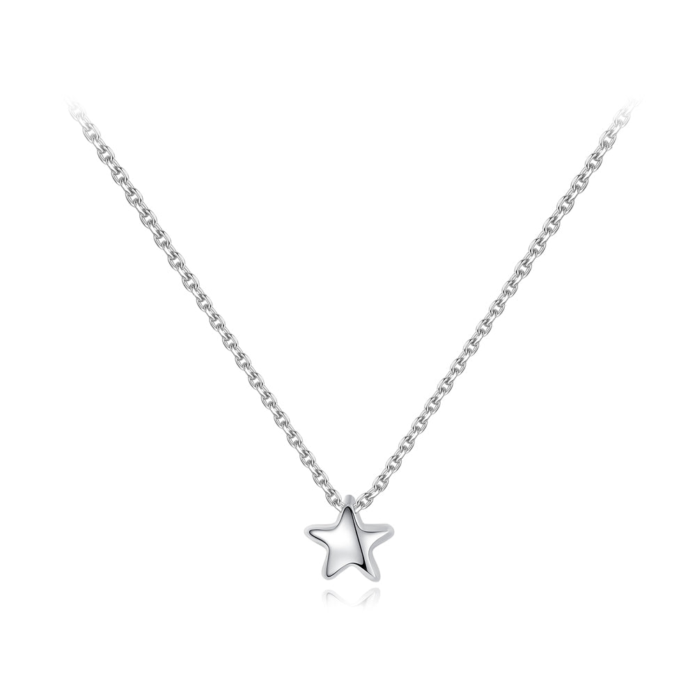 925 Sterling Silver Simple and Delicate Star Pendant with Necklace