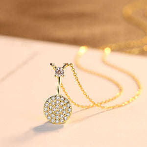 925 Sterling Silver Plated Gold Simple Fashion Geometric Round Pendant with Cubic Zirconia and Necklace
