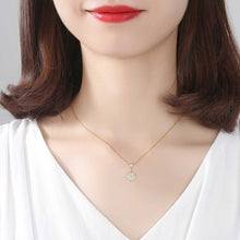Load image into Gallery viewer, 925 Sterling Silver Plated Gold Simple Fashion Geometric Round Pendant with Cubic Zirconia and Necklace