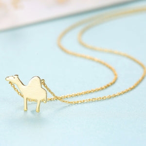 925 Sterling Silver Simple and Cute Camel Pendant with Necklace