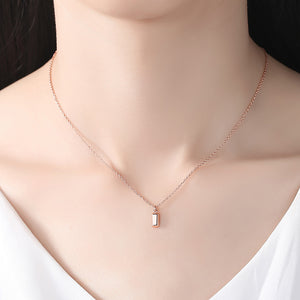 925 Sterling Silver Plated Rose Gold Simple Fashion Geometric Rectangular Pendant with Necklace