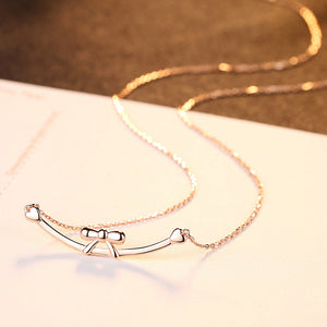 925 Sterling Silver Plated Rose Gold Simple and Elegant Ribbon Geometric Necklace