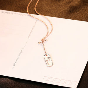 925 Sterling Silver Plated Rose Gold Simple Fashion GOODLUCK Geometric Round Pendant with Necklace
