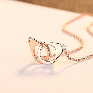 925 Sterling Silver Plated Rose Gold Simple Creative Handcuff Pendant with Necklace