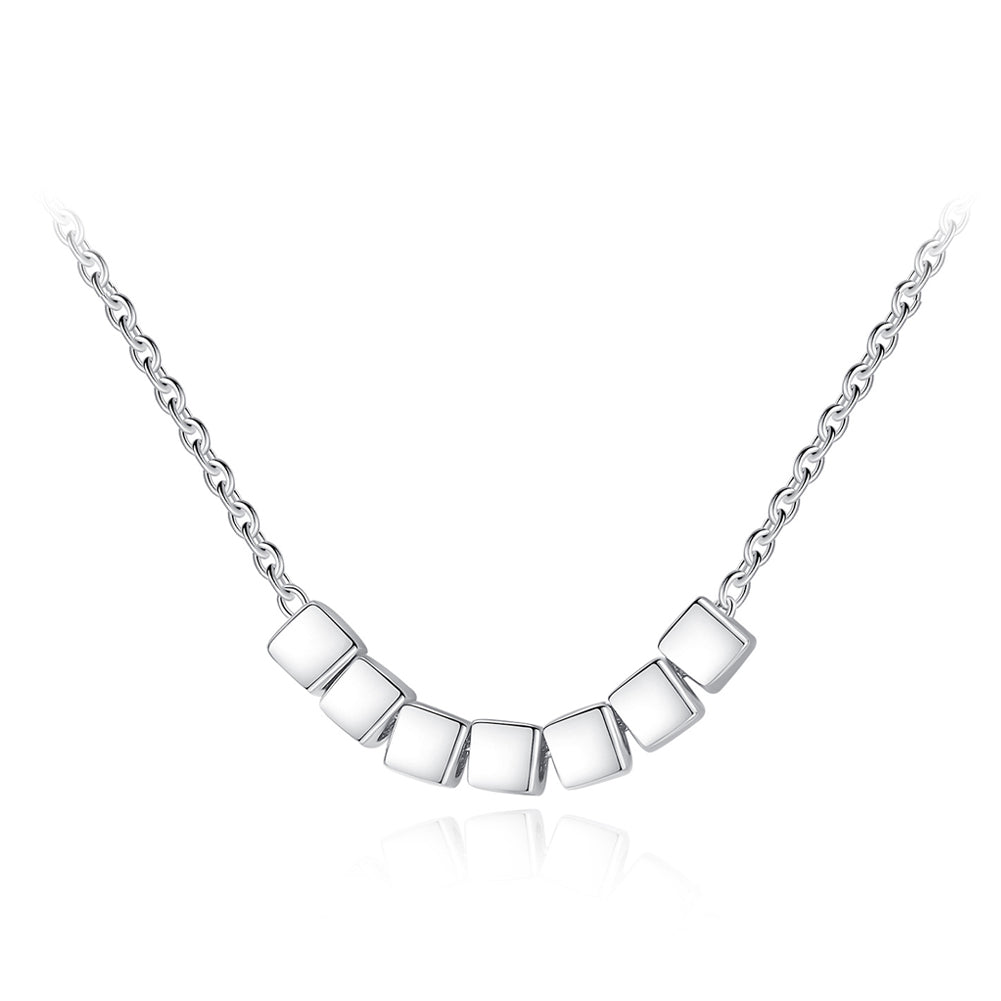 925 Sterling Silver Simple Fashion Geometric Square Necklace