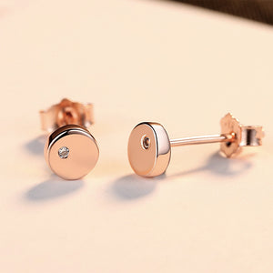 925 Sterling Silver Plated Rose Gold Simple Classic Geometric Round Earrings with Cubic Zirconia