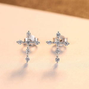925 Sterling Silver Fashion Classic Cross Stud Earrings with Cubic Zirconia