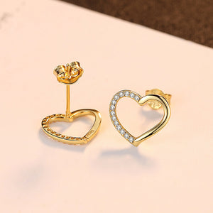 925 Sterling Silver Plated Gold Simple Romantic Hollow Heart Stud Earrings with Cubic Zirconia