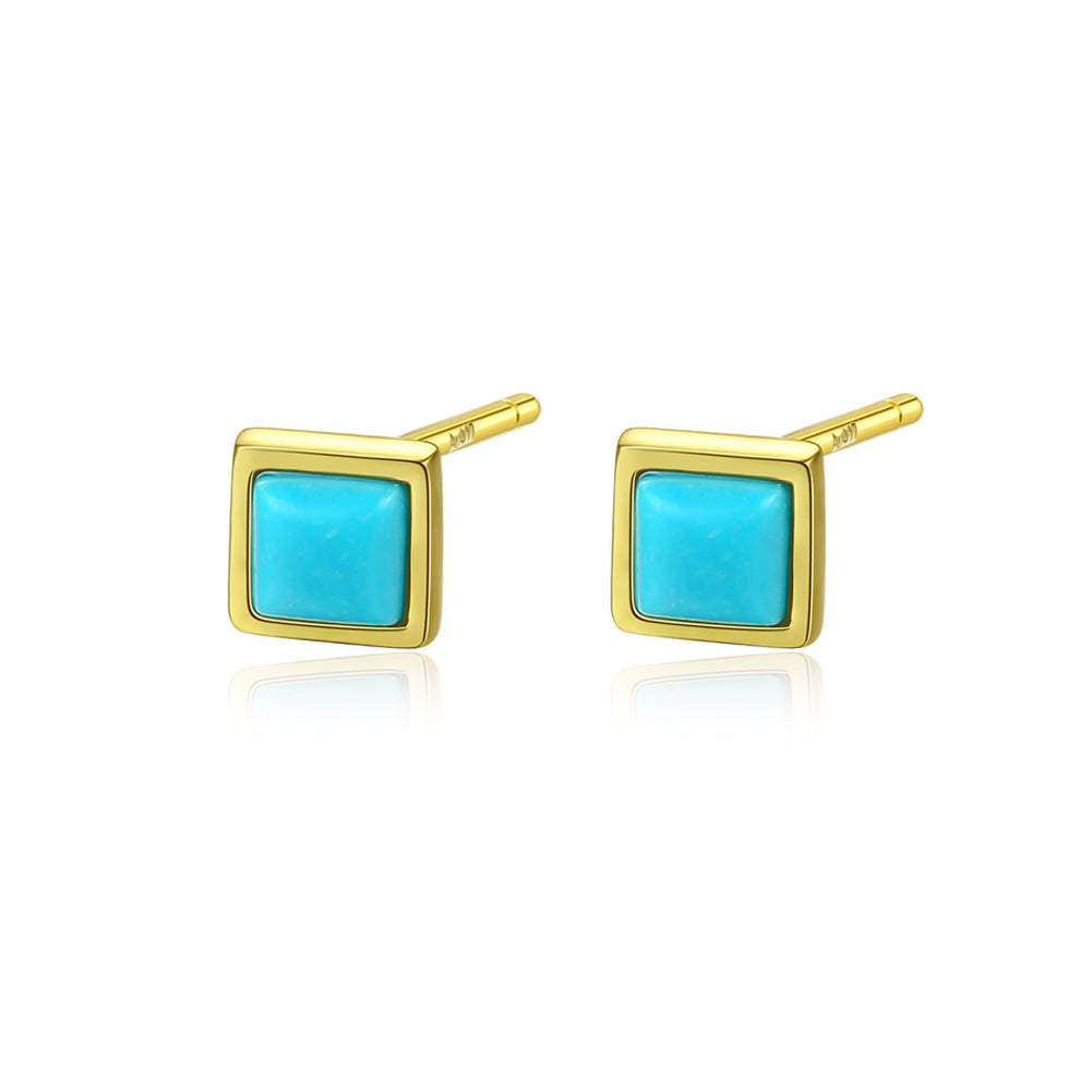 925 Sterling Silver Plated Gold Simple Fashion Blue Geometric Square Stud Earrings