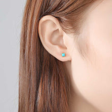 Load image into Gallery viewer, 925 Sterling Silver Plated Gold Simple Fashion Blue Geometric Square Stud Earrings