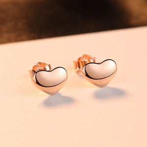 925 Sterling Silver Plated Rose Gold Simple Romantic Heart Stud Earrings